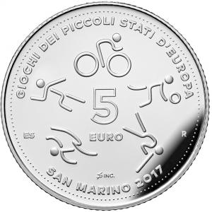 5 euro Saint-Marin 2017 argent BE - Jeux des petits états d'Europe Revers (zoom)