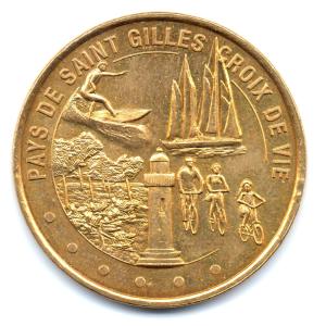 (FMED.Méd.tourist.2012.CuAlNi1.000000001) Jeton touristique - Pays de Saint Gilles Croix de Vie Avers (zoom)