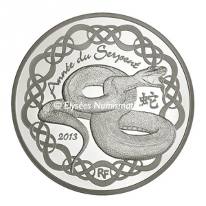 10 euro France 2013 Proof silver - Year of the Snake Obverse