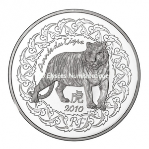 5 euro France 2010 Brilliant Uncirculated silver - Year of the Tiger Obverse