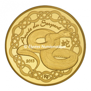 50 euro France 2013 Proof gold - Year of the Snake Obverse