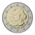 (EUR12.ComBU&BE.2011.200.BU.COM1) 2 euro commémorative Monaco 2011 BU - Mariage princier Avers
