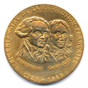 (FMED.Méd.even.1989.CuAlNi1.000000003) Jeton événementiel - Robespierre et Saint-Just Avers (zoom)