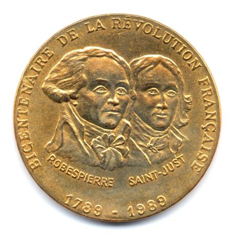 (FMED.Méd.even.1989.CuAlNi1.000000003) Jeton événementiel - Robespierre et Saint-Just Avers