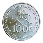 (W150.10000.1989.1.000000001) 100 Francs Prince Rainier III 1989 Revers