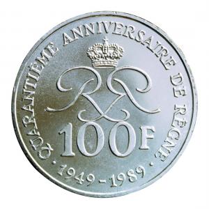 (W150.10000.1989.1.000000001) 100 Francs Prince Rainier III 1989 Revers (zoom)
