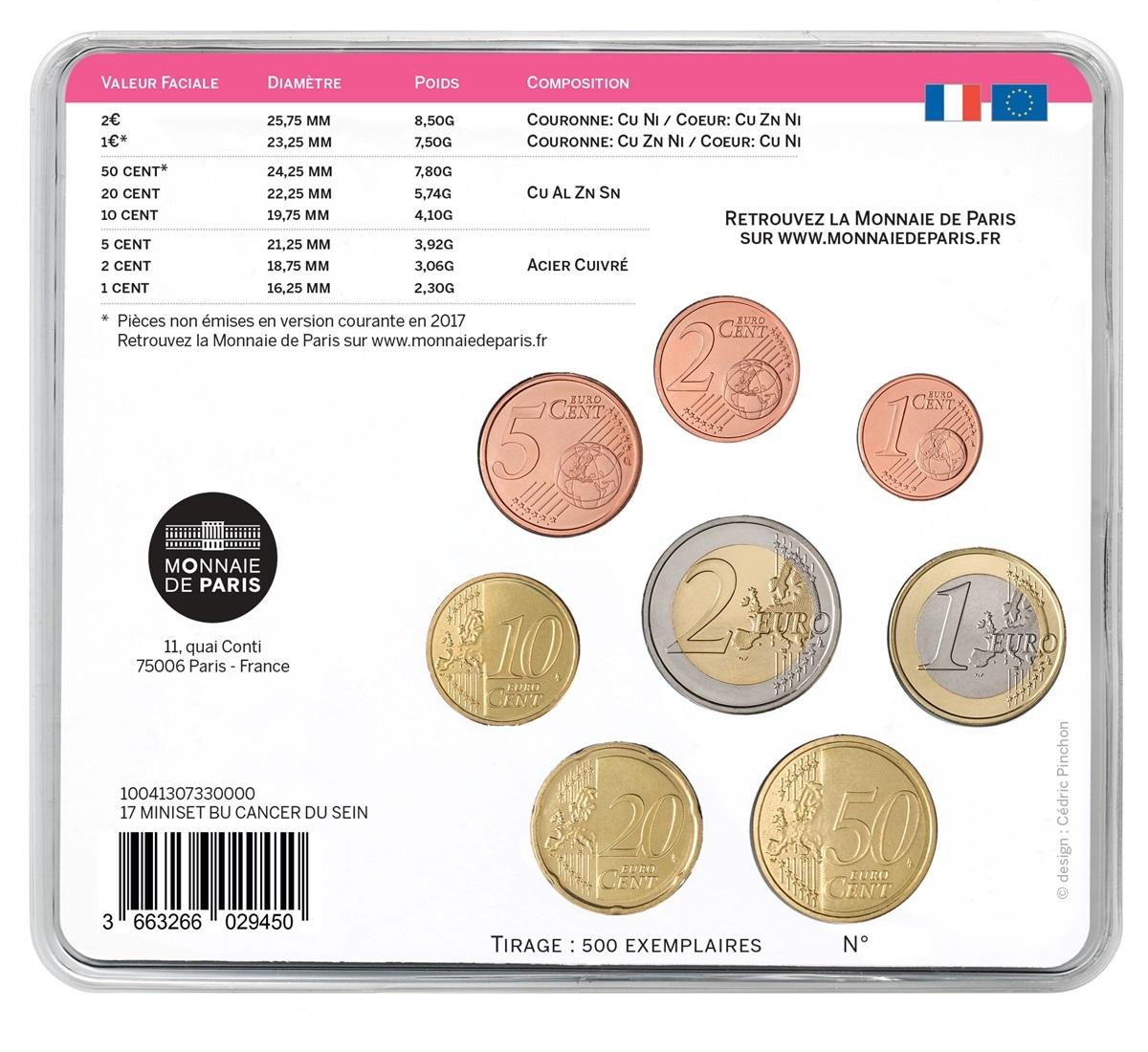 (EUR07.CofBU&FDC.2017.10041307330000) BU coin set France 2017 - Pink Ribbon Back (zoom)
