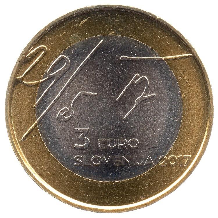 (EUR16.300.2017.COM1.000000001) 3 euro Slovenia 2017 - May Declaration Obverse (zoom)