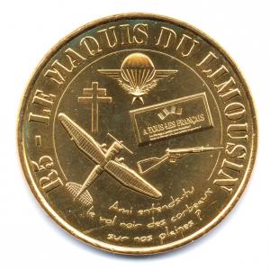 (FMED.Méd.souv.2014.CuAlNi-1.1.000000002) Jeton touristique - Maquis du Limousin Avers (zoom)