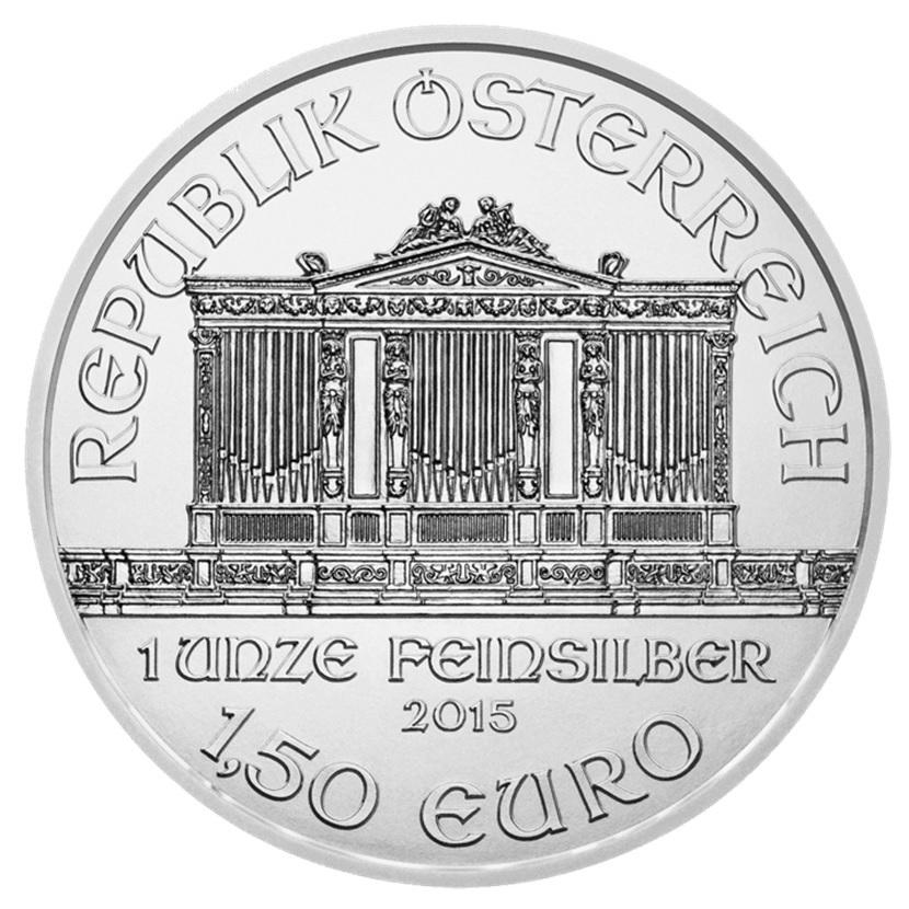 (EUR01.150.2015.21373) 1.50 euro Austria 2015 1 ounce fine silver - Philharmonic Obverse (zoom)