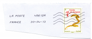 (PHILEUR07.063_20g.2013.1.2013_04_30.000000001) 0,63 euro France 2013 - Année du Serpent (zoom)