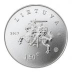 1,50 euro Lituanie 2017 - Chien de chasse lituanien et cheval Žemaitukas Avers