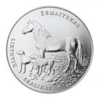 1,50 euro Lituanie 2017 - Chien de chasse lituanien et cheval Žemaitukas Revers