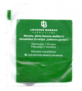 (EUR22.bag.2017.2) Sachet de banque 1,50 euro Lituanie 2017 - Chien de chasse lituanien et cheval Žemaitukas Recto (zoom)