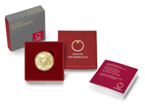 50 euro Austria 2018 Proof gold - Alfred Adler (packaging) (zoom)