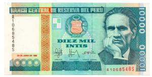 (BILLS173.10000i.1988.1.1988_06_28.A1068548S) 10000 Intis Cesar Abraham Vallejo Mendoza 1988 Front (zoom)