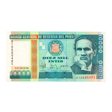 (BILLS173.10000i.1988.1.1988_06_28.A1068548S) 10000 Intis Cesar Vallejo 1988 Recto