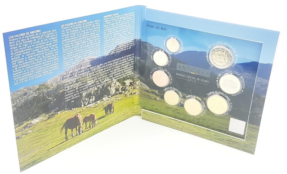 (EUR24.CofBU&FDC.2017.Cof-BU.01803) BU coin set Andorra 2017 (open) (zoom)