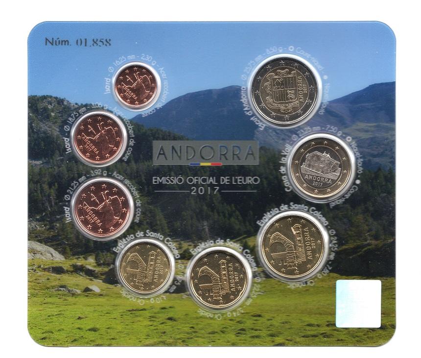 (EUR24.CofBU&FDC.2017.Cof-BU.01858) BU coin set Andorra 2017 Obverses (zoom)