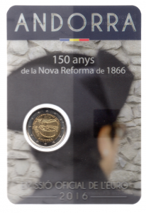 (EUR24.ComBU&BE.2016.200.BU.COM1.cp5.19876) 2 euro commémorative Andorre 2016 BU - Réforme de 1866 Recto (zoom)