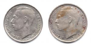 (LOT.W135.100.1986et1987.1.000000001) 1 Franc Grand-Duc Jean de Luxembourg, initiales IML au revers (zoom) Avers