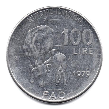 (W115.10000.1979.2.000000001) 100 Lire Organisation des Nations unies pour l'alimentation et l'agriculture 1979 Revers