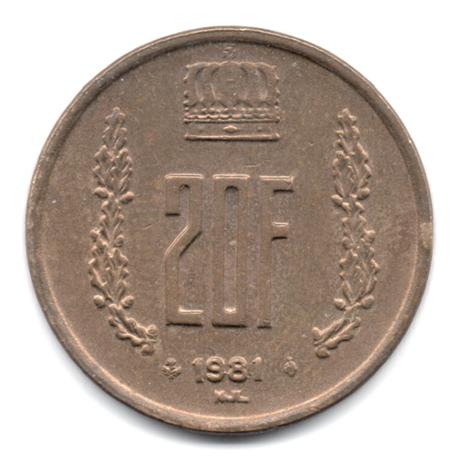 (W135.2000.1981.1.000000001) 20 Francs Grand-Duc Jean de Luxembourg 1981 Revers