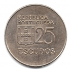 (W176.25.1977.1.000000001) 25 Escudos Liberté et Démocratie, petit module 1977 Revers