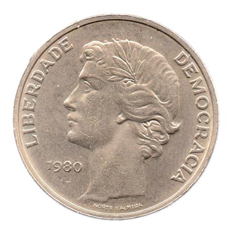 (W176.25.1980.1.000000001) 25 Escudos Liberté et Démocratie, grand module 1980 Avers