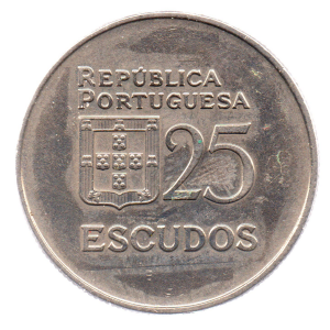 (W176.25.1982.1.000000002) 25 Escudos Liberty and Democracy, large diameter 1982 Reverse (zoom)