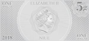 1 dollar Niue 2018 5 grams Brilliant Uncirculated silver - Luke Skywalker Obverse (zoom)