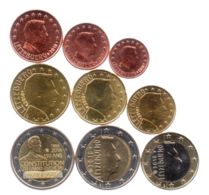 (LOT.EUR11.001to200.2018.1.spl.000000001) Series 1 cent to 2 euro commemorative coin Luxembourg 2018 Obverses (zoom)