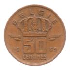 (W023.050.1969.2.2.ttb.000000001) 50 centimes Mineur, Petite tête 1969 - Légende flamande Revers