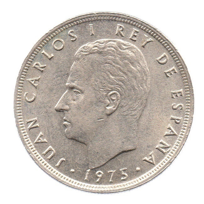(W064.005.1975.1.3.sup.000000001) 5 Pesetas King Juan Carlos 1st 1975 Obverse (zoom)