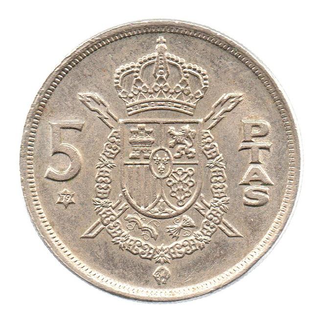(W064.005.1975.1.3.sup.000000001) 5 Pesetas King Juan Carlos 1st 1975 Reverse (zoom)
