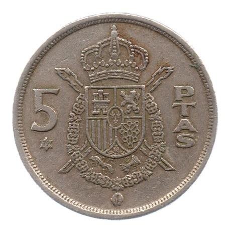 (W064.005.1975.1.3.tb.plus.ttb.000000001) 5 Pesetas Juan Carlos Ier 1975 (79 dans l'étoile) Revers
