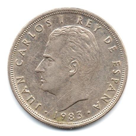 (W064.005.1983.1.ttb.plus.sup.000000001) 5 Pesetas Juan Carlos Ier 1983 Avers