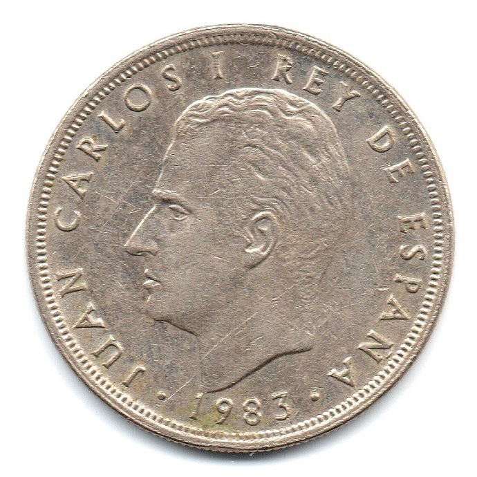 (W064.005.1983.1.ttb.plus.sup.000000001) 5 Pesetas King Juan Carlos 1st 1983 Obverse (zoom)