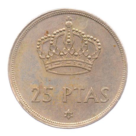 (W064.025.1975.1.5.ttb.000000001) 25 Pesetas Juan Carlos Ier 1975 (80 dans l'étoile) Revers