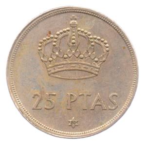 (W064.025.1975.1.5.ttb.000000001) 25 Pesetas King Juan Carlos 1st 1975 (80 in star) Reverse (zoom)