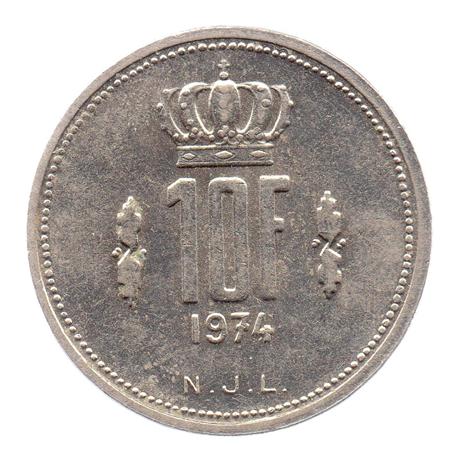 (W135.1000.1974.1.sup+[]spl.000000001) 10 Francs Grand-Duc Jean de Luxembourg 1974 Revers