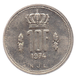 (W135.1000.1974.1.sup+[]spl.000000001) 10 Francs Grand Duke Jean of Luxembourg 1974 Reverse (zoom)