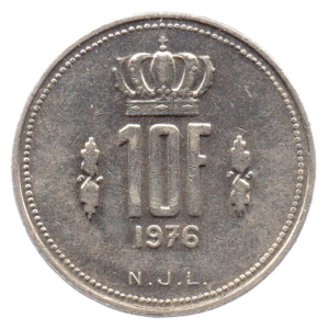 (W135.1000.1976.1.sup+[]spl.000000001) 10 Francs Grand Duke Jean of Luxembourg 1976 Reverse (zoom)