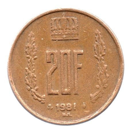 (W135.2000.1981.1.tb+[]ttb.000000001) 20 Francs Grand-Duc Jean de Luxembourg 1981 Revers