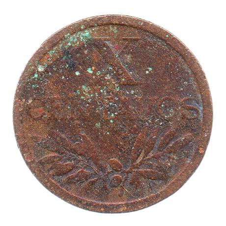 (W176.0100.1951.1.10.b.000000001) 10 Centavos aux cinq écussons en croix 1951 Revers
