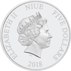 5 dollars Niue 2018 2 oz Proof fine silver - Master Yoda Obverse (zoom)