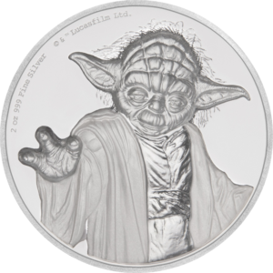 5 dollars Niue 2018 2 oz Proof fine silver - Master Yoda Reverse (extra zoom)