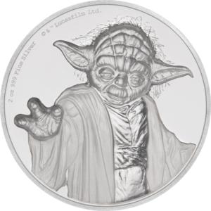 5 dollars Niue 2018 2 oz Proof fine silver - Master Yoda Reverse (extra zoom)