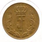 (W135.500.1986.1.1.ttb.000000001) 5 Francs Grand-Duc Jean de Luxembourg 1986 (listel étroit) Revers