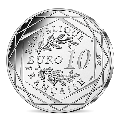 10 euro France 2018 argent - Mickey cinéaste Revers